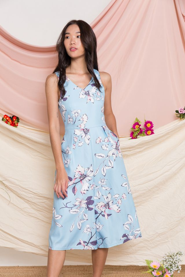 Parthenia Floral Wide Leg Jumpsuit in Light Blue