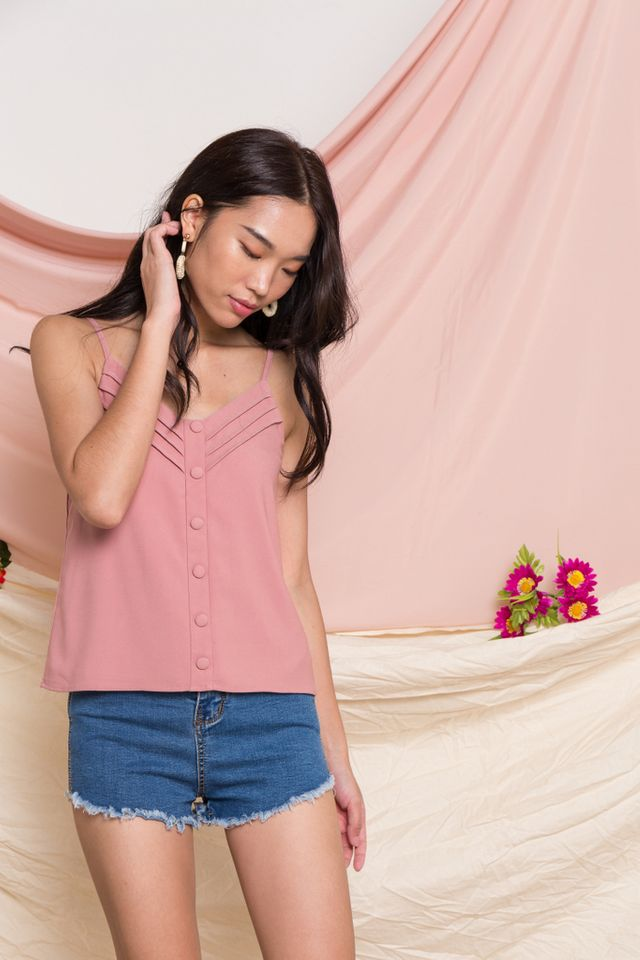 Adelyn Button Top in Rose Pink (S)