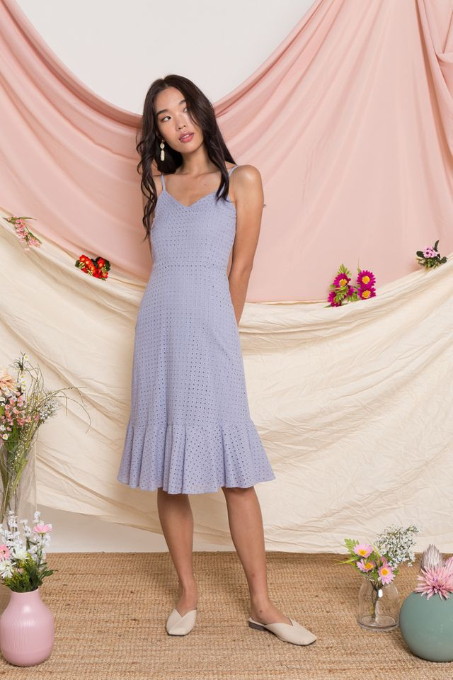 Delta Eyelet Ruffles Dress in Lavender