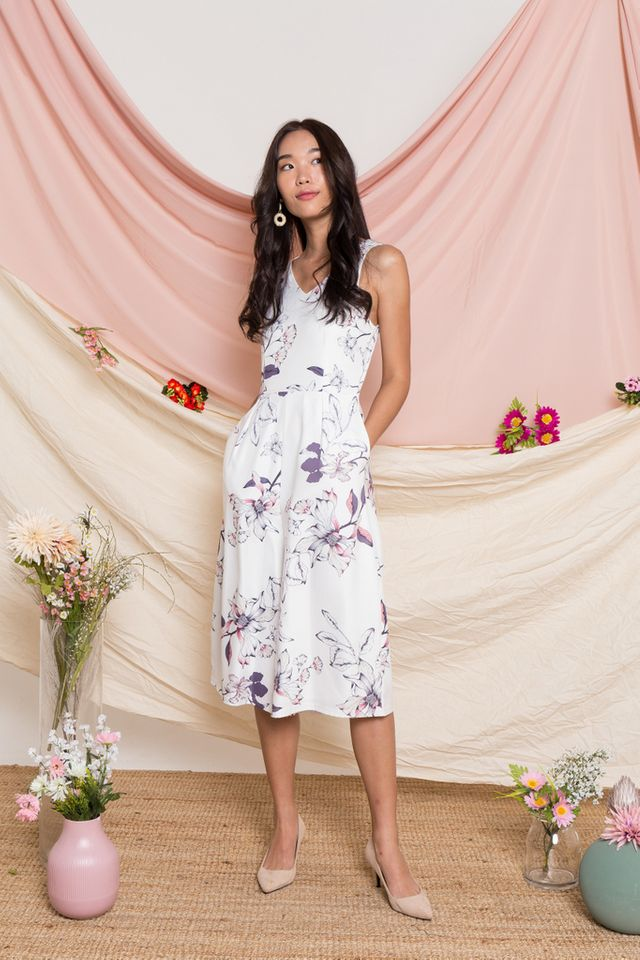 Parthenia Floral Wide Leg Jumpsuit in White
