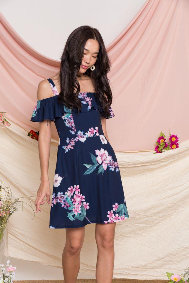 Riona Floral Cold Shoulder Dress in Navy