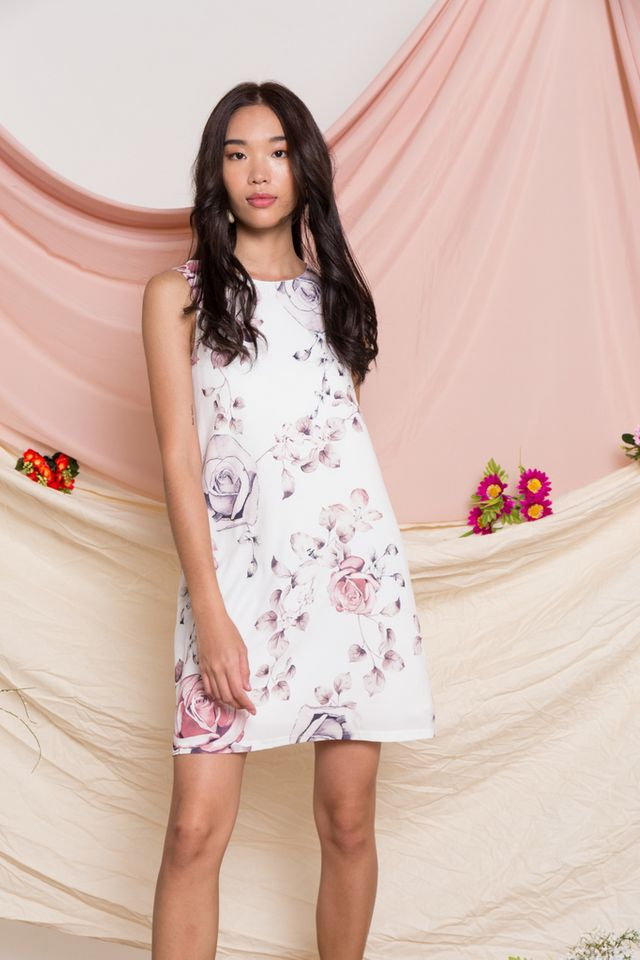 Eldora Floral Trapeze Dress in White (XL)
