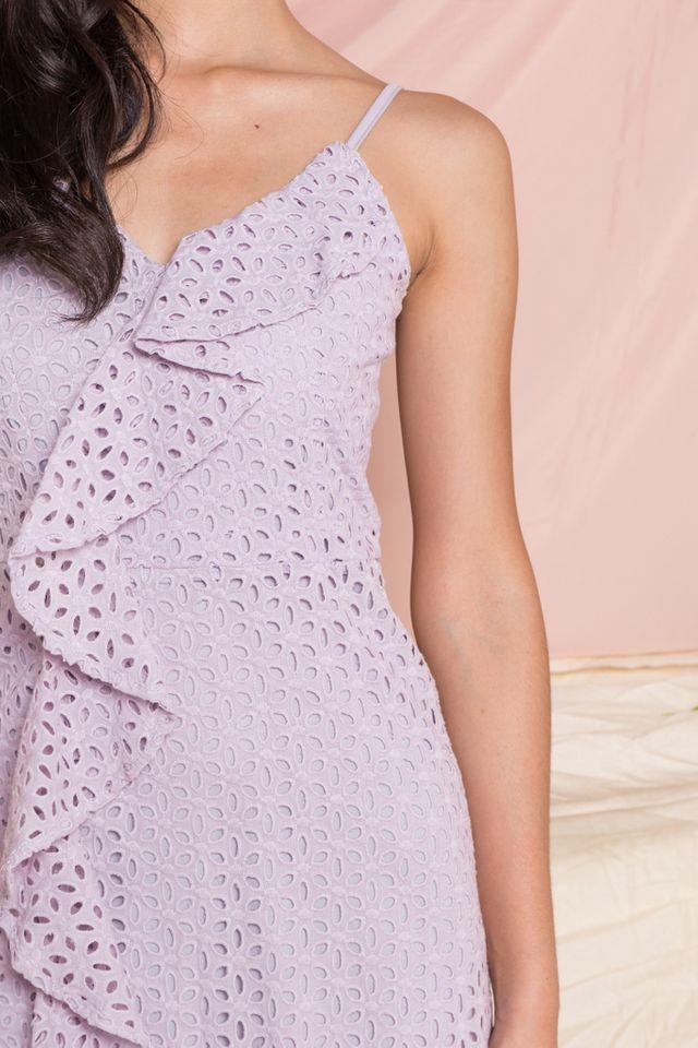 Jennet Eyelet Ruffles Dress in Lilac