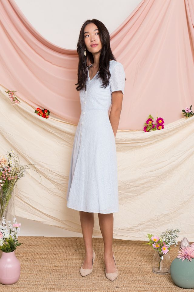 Aster Eyelet Button Midi Dress in Baby Blue