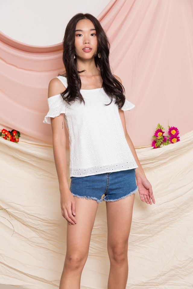 Almera Embroidered Cold Shoulder Top in White
