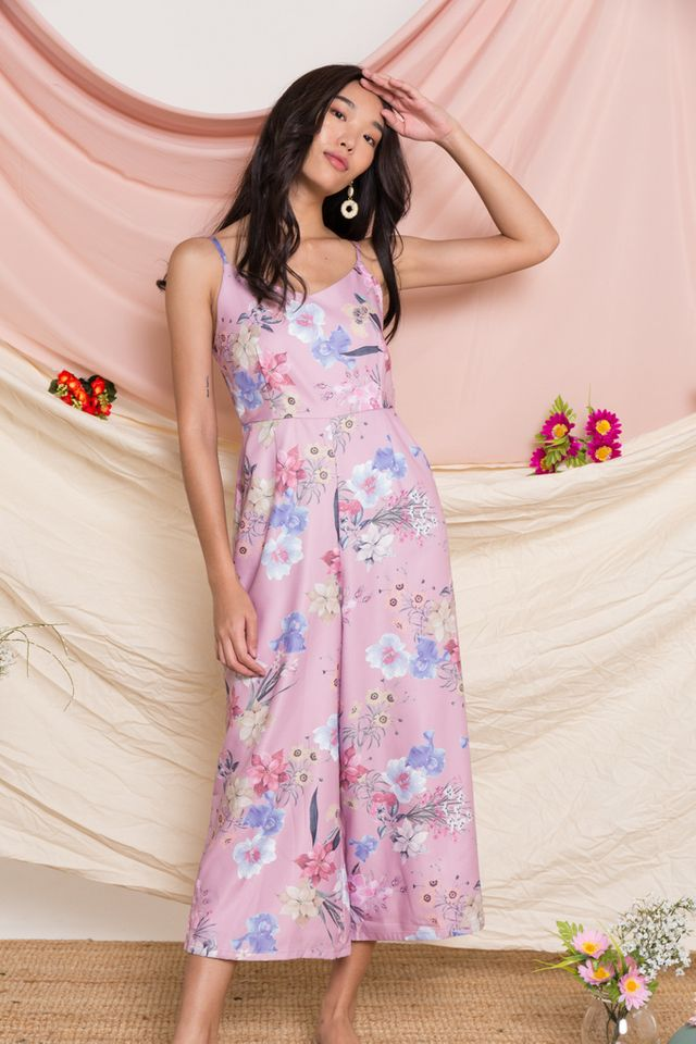 Tullia Floral Wide Leg Jumpsuit in Dusty Pink