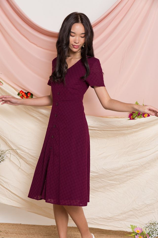 Aster Eyelet Button Midi Dress in Plum