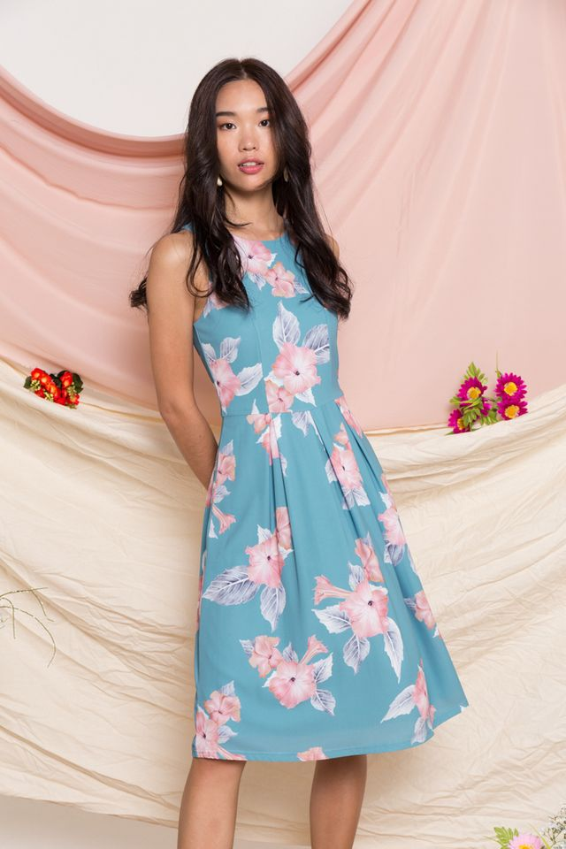 Catalina Floral Midi Dress in Teal Blue (XS)