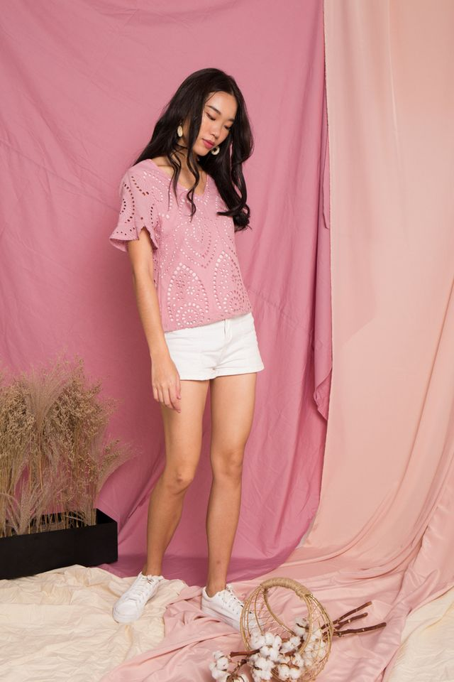 Moriah Eyelet Top in Pink