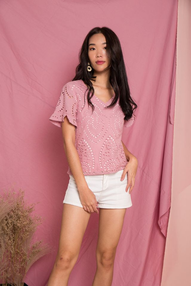 Moriah Eyelet Top in Pink (XS)