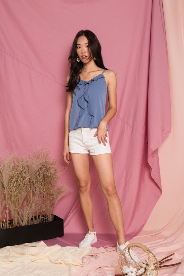 Axelle Basic Ruffles Top in Steel Blue