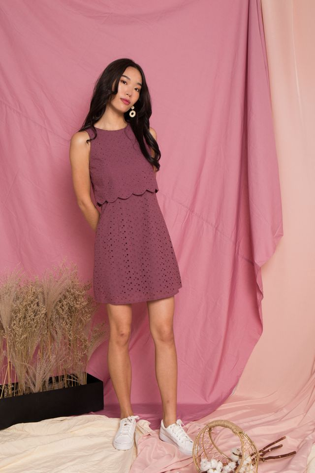Rosabel Eyelet Overlay Trapeze Dress in Mauve