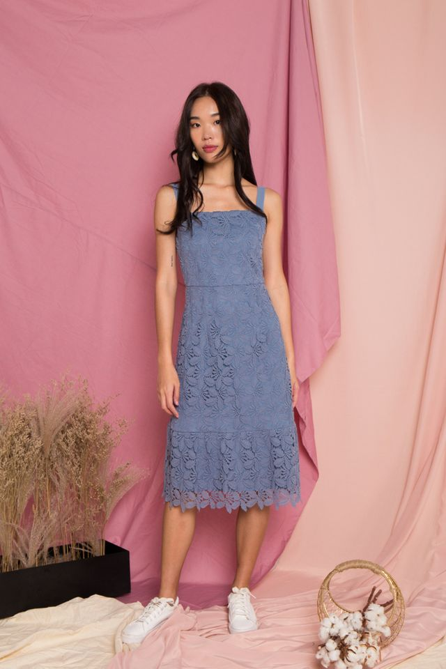 Amoret Crochet Midi Dress in Blue