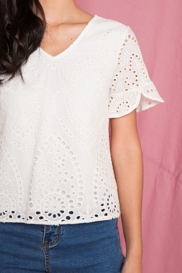 Moriah Eyelet Top in White (XS)