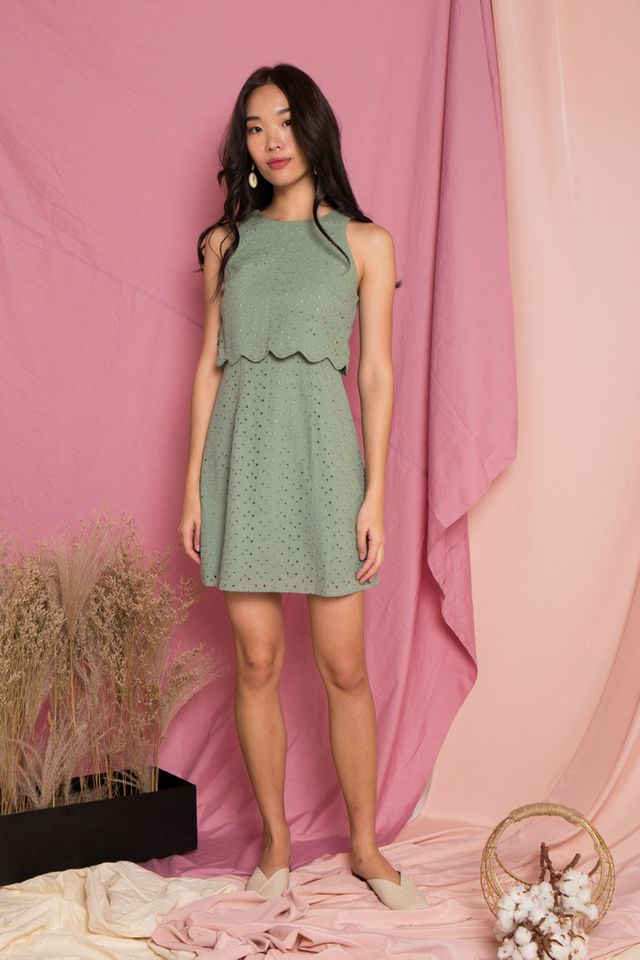 Rosabel Eyelet Overlay Trapeze Dress in Sage (M)