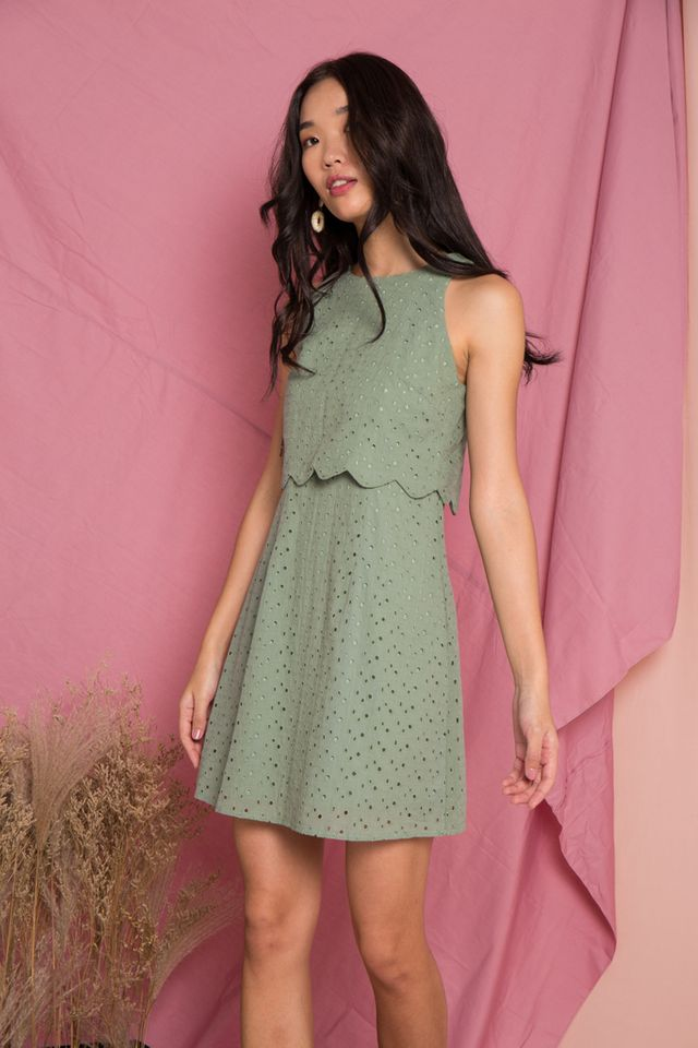 Rosabel Eyelet Overlay Trapeze Dress in Sage