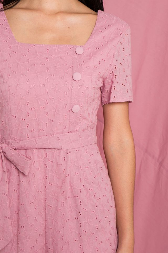 Georgina Eyelet Button Romper in Pink