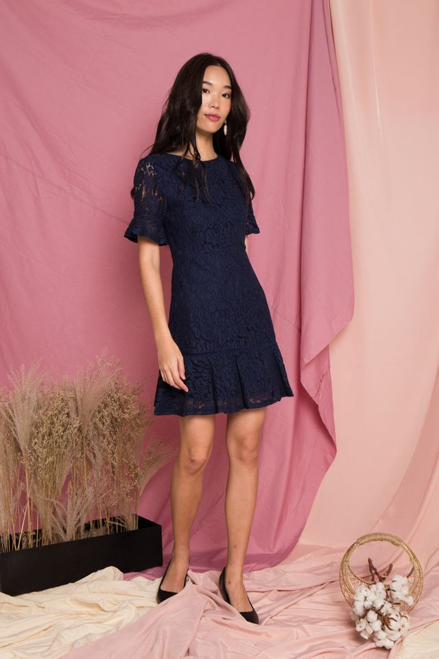 Edrea Lace Ruffles Dress in Navy