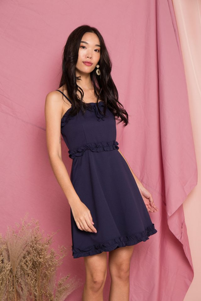 Briallen Ruffles Trapeze Dress in Navy (L)
