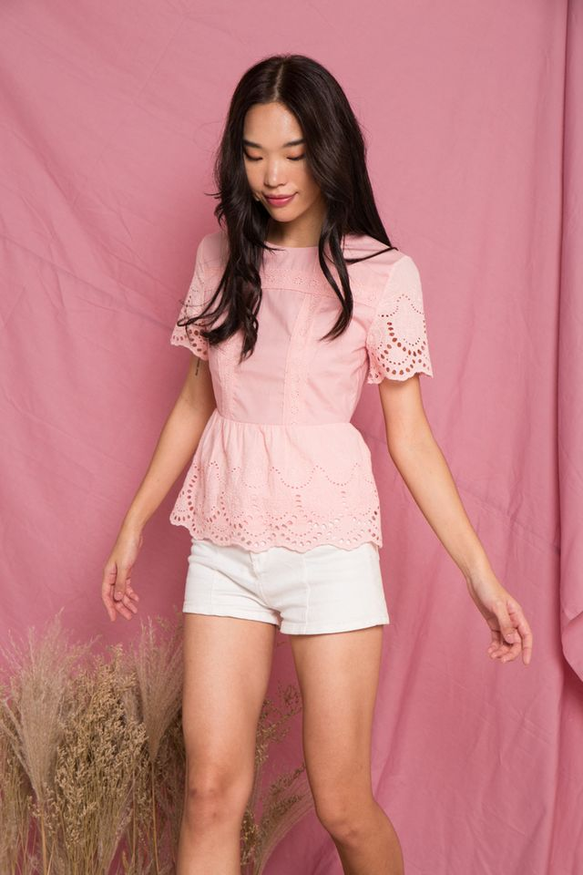Verna Embroidery Babydoll Top in Pink