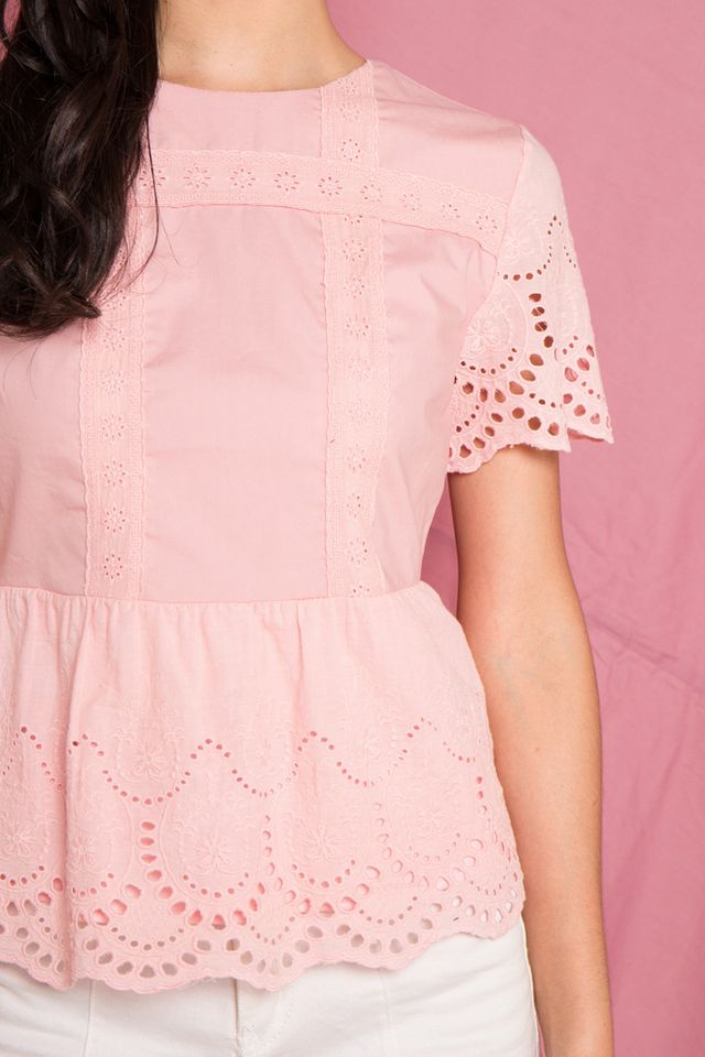 Verna Embroidery Babydoll Top in Pink (XS)