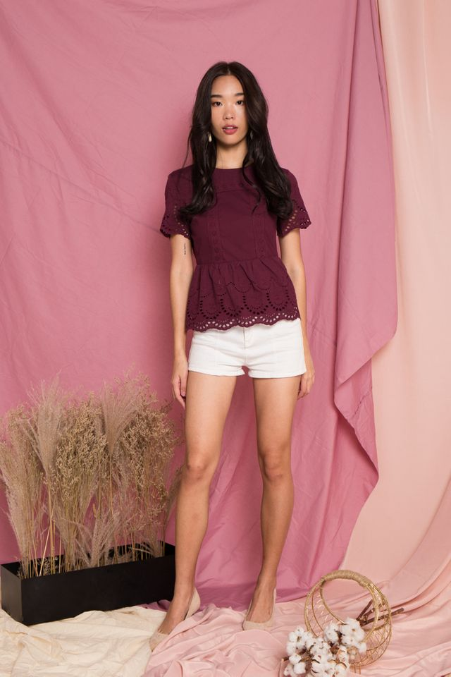Verna Embroidery Babydoll Top in Plum