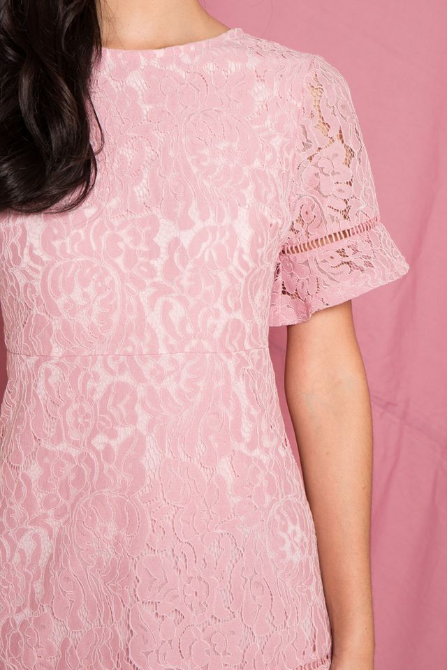 Edrea Lace Ruffles Dress in Pink (XS)