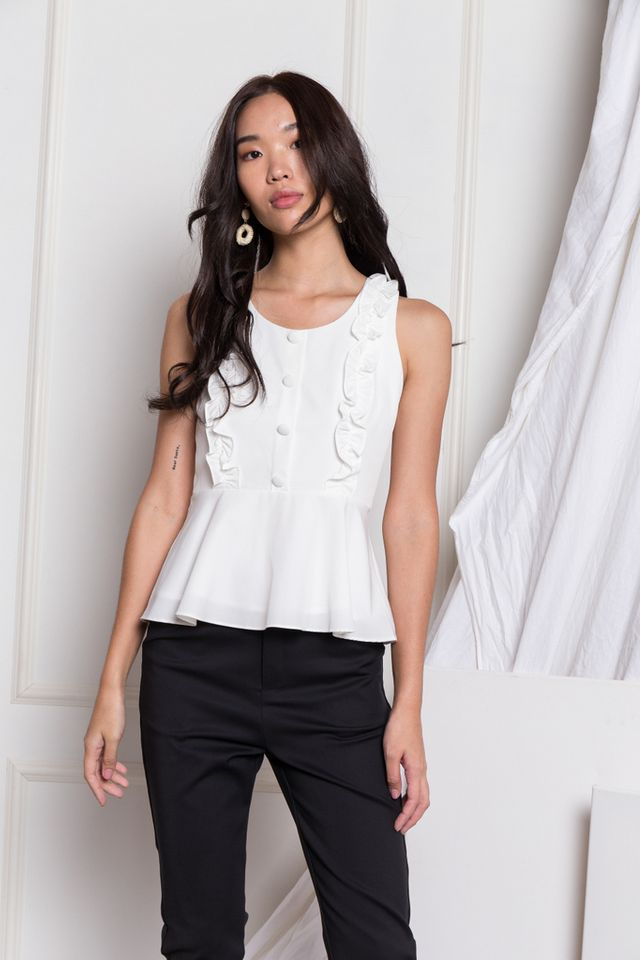 Cressida Ruffles Peplum Top in White