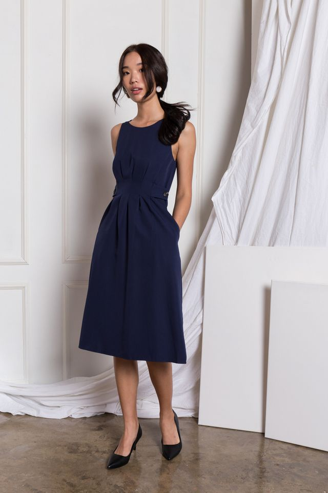 Adalee Soft Pleated Midi Dress in Navy