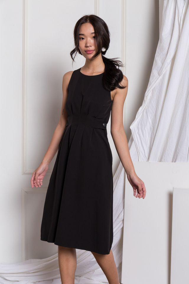 Adalee Soft Pleated Midi Dress in Black