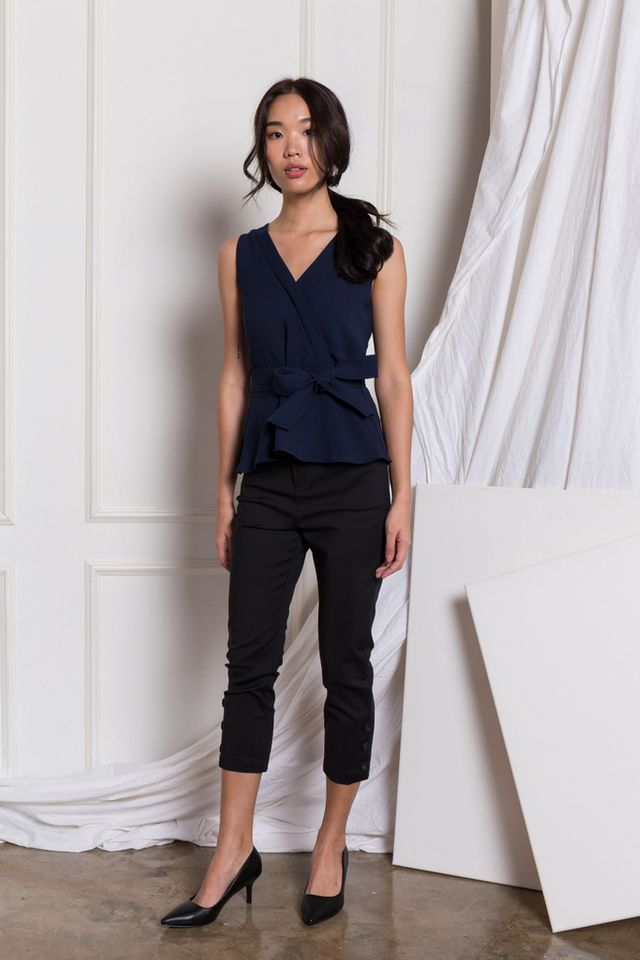 Adina Faux Wrap Peplum Top in Navy