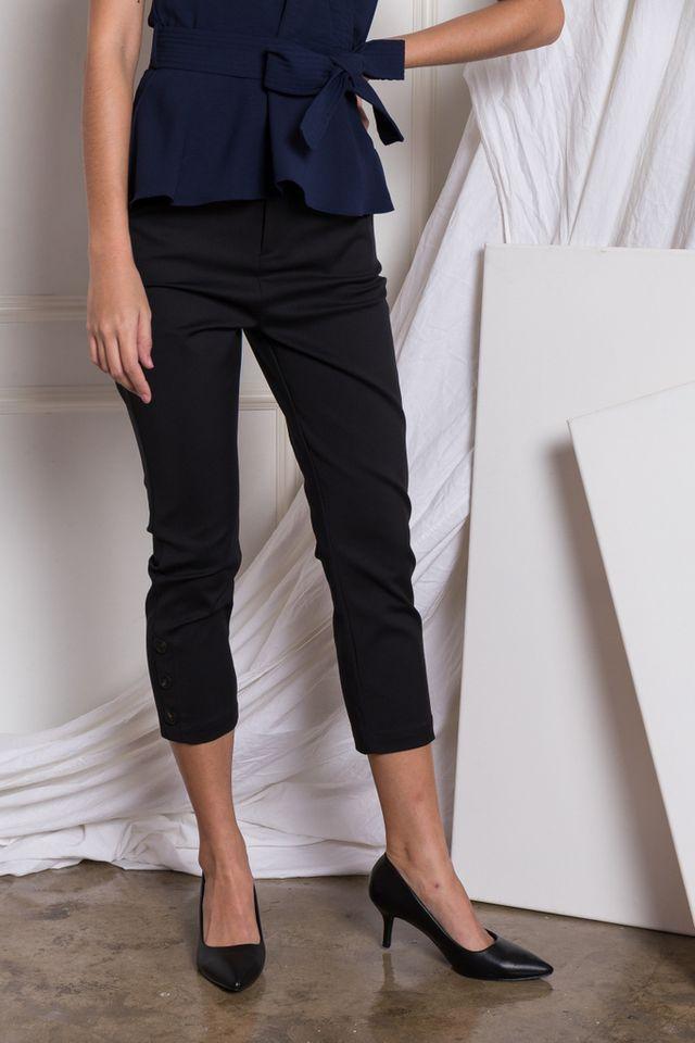 Solana Button Hem Work Pants in Black