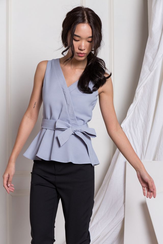 Adina Faux Wrap Peplum Top in Dusty Blue
