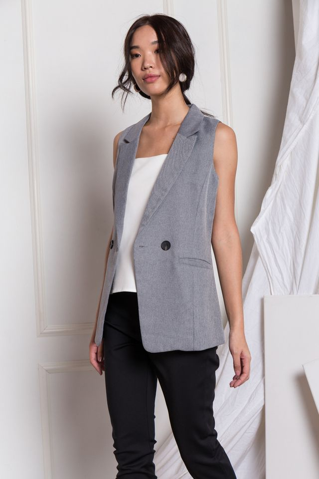 Whitley Textured Vest in Dark Grey