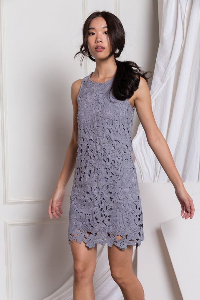 Brea Floral Crochet Sheath Dress in Grey