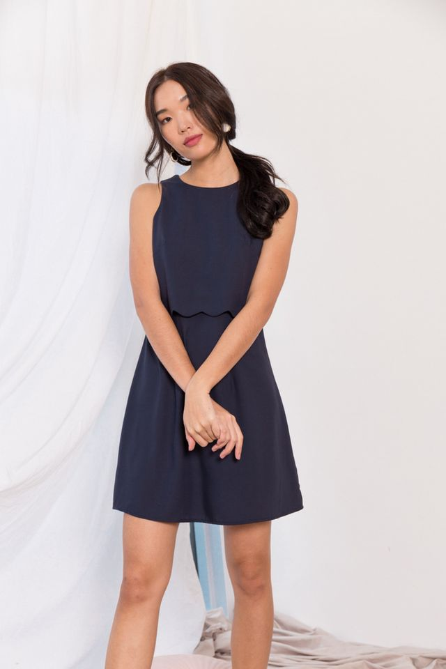 Mirta Overlay Trapeze Dress in Navy