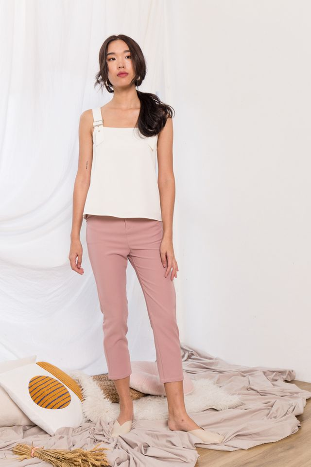 Tahira High Waisted Trousers in Dusty Pink