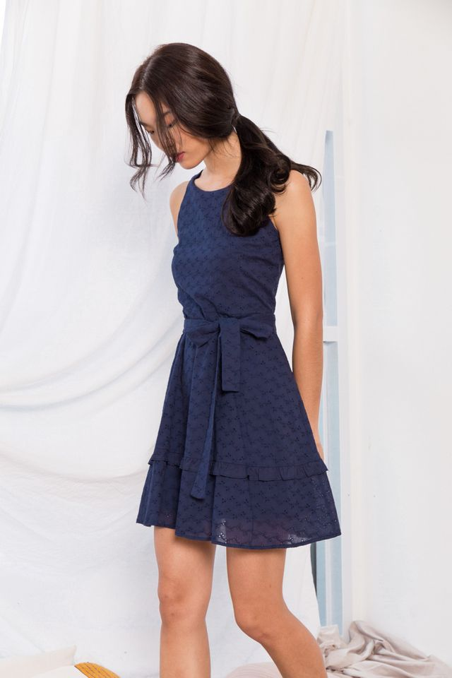 Candra Eyelet Skater Dress in Navy