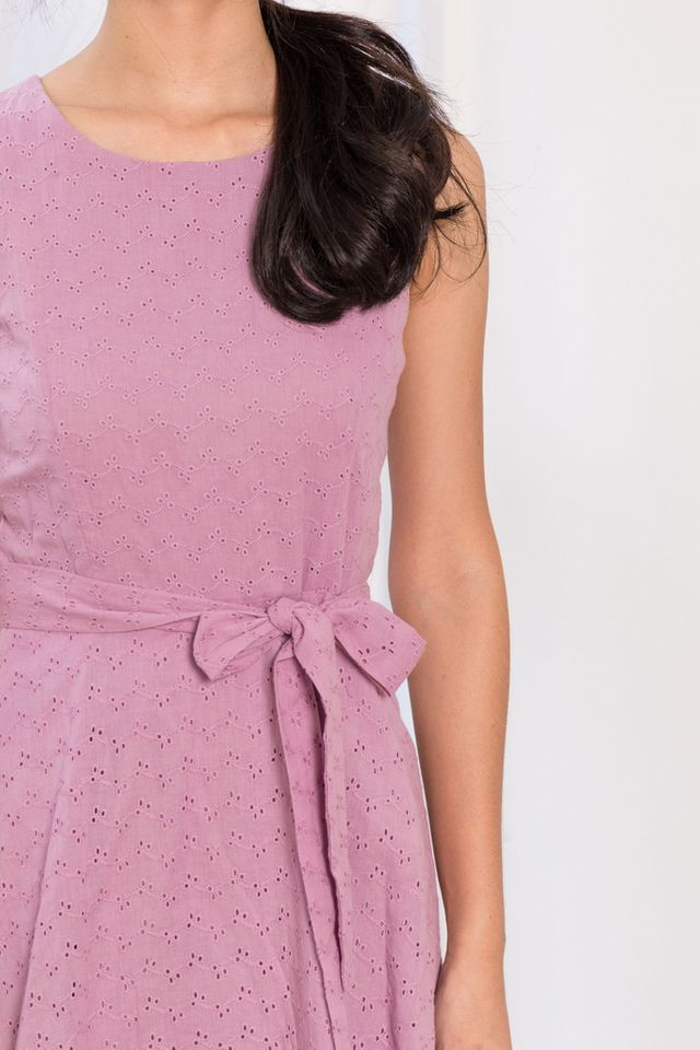Candra Eyelet Skater Dress in Wisteria (XS)