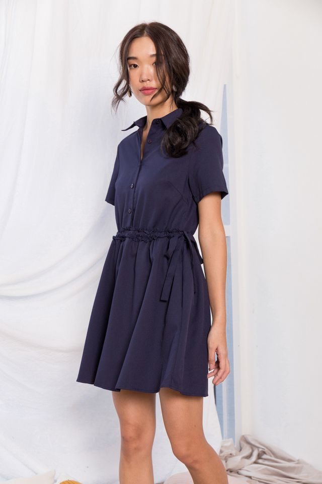 Mireille Ruffles Shirt Dress in Navy