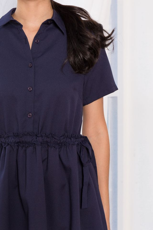 Mireille Ruffles Shirt Dress in Navy