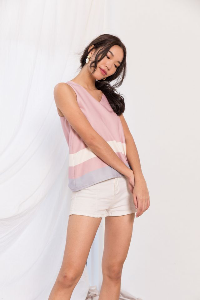 Svea Colourblock Top in Pink