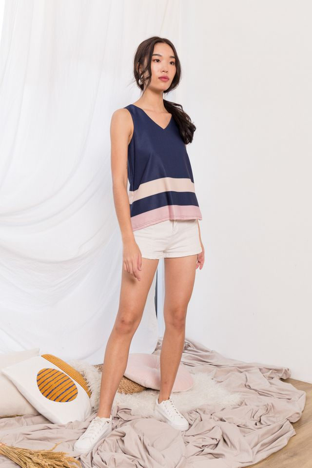 Svea Colourblock Top in Navy