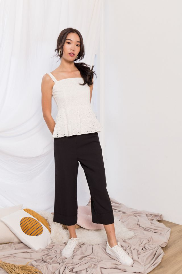 Adalia Eyelet Peplum Top in White