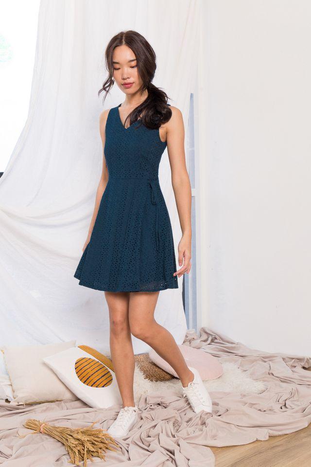 Oriana Floral Eyelet Skater Dress in Teal