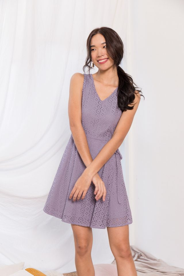 Oriana Floral Eyelet Skater Dress in Lavender