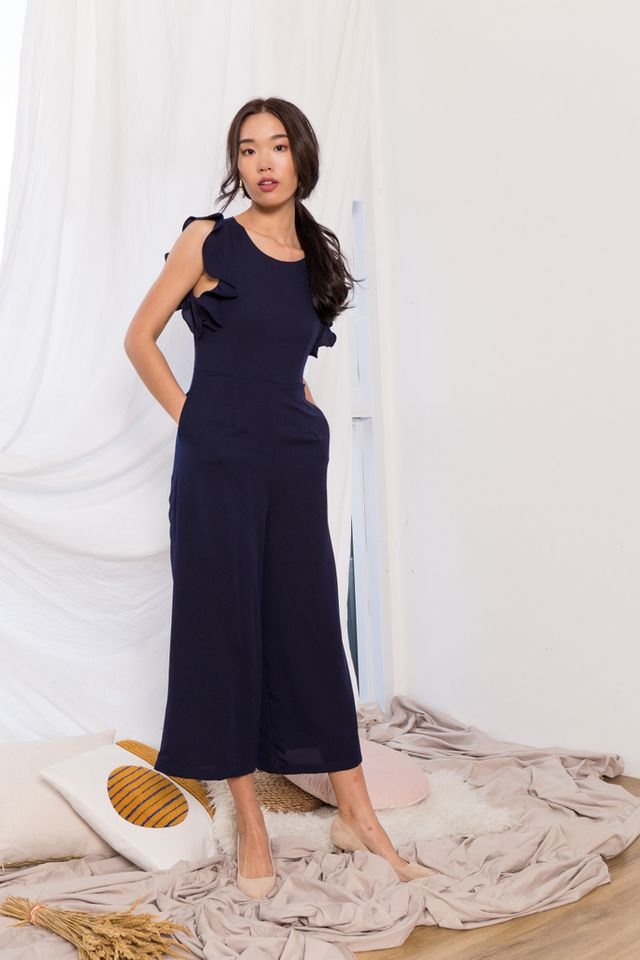 Euphemia Ruffles Sleeve Jumpsuit in Navy