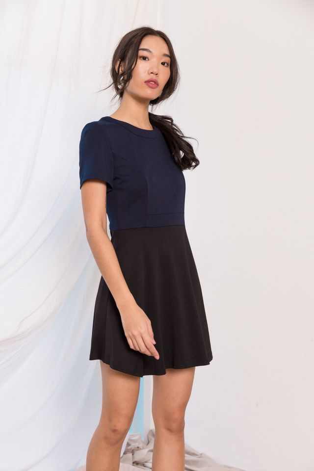 Vanetta Colourblock Skater Dress in Navy