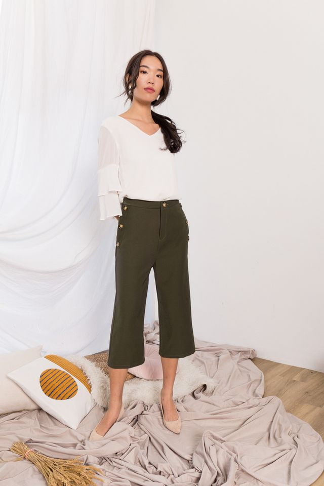 Blanche High Waisted Button Culottes in Forest (XL)
