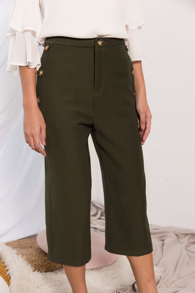 Blanche High Waisted Button Culottes in Forest (XS)